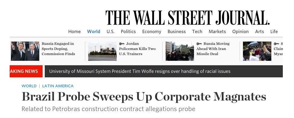 The Wall Street Journal sobre a operação Lava Jato da PF.